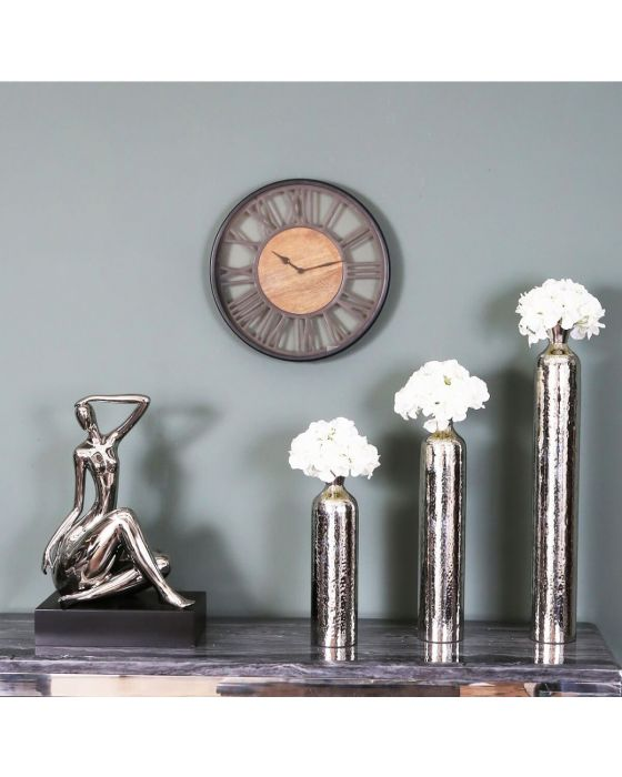Pearl Round 40cm Black and Natural Wood Wall Clock