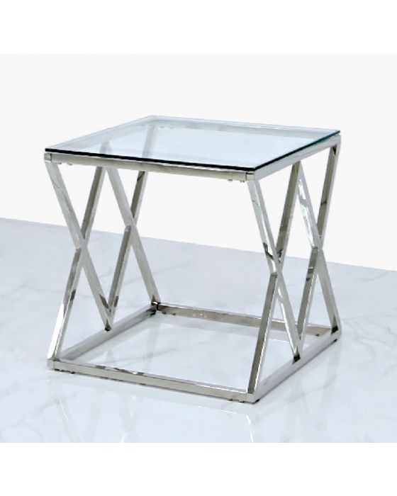 Pearl Stainless Steel and Glass Side Table