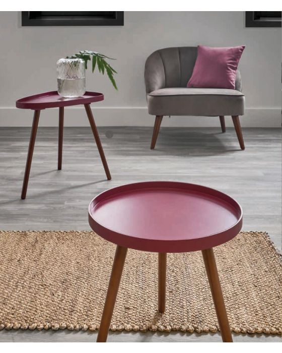 Raspberry Pink and Pine Teardrop Side Table