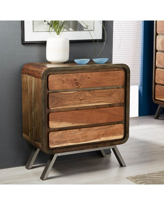 Reclaimed Iron and Wood 4 Drawer Chest