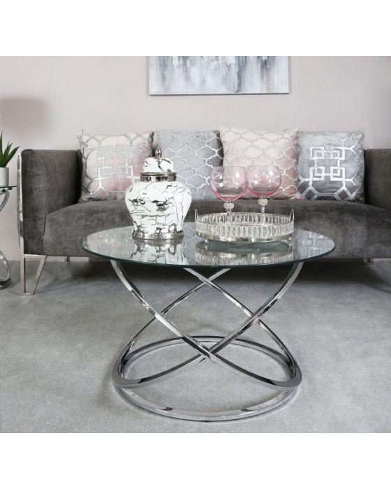 Riz Glass and Chrome Coffee Table