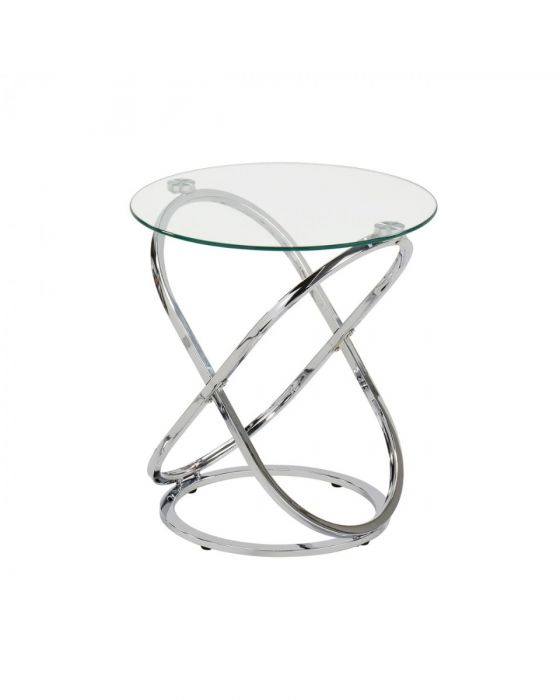 Riz Glass and Chrome Side Table
