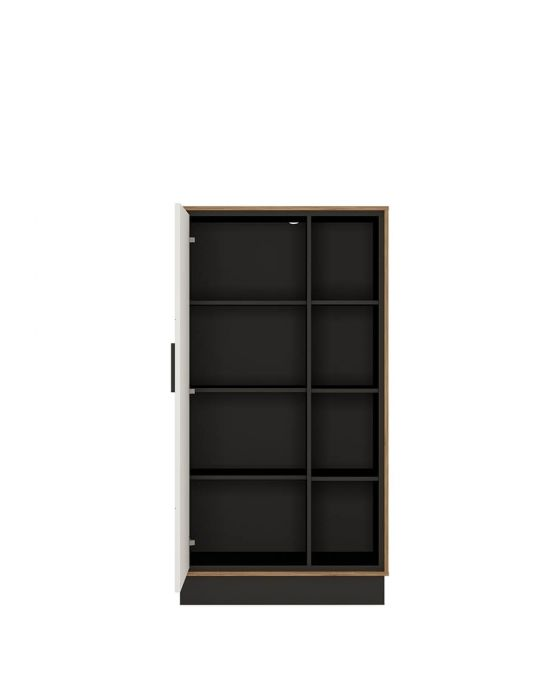 Rolo 1 Door Bookcase in White and Dark Wood