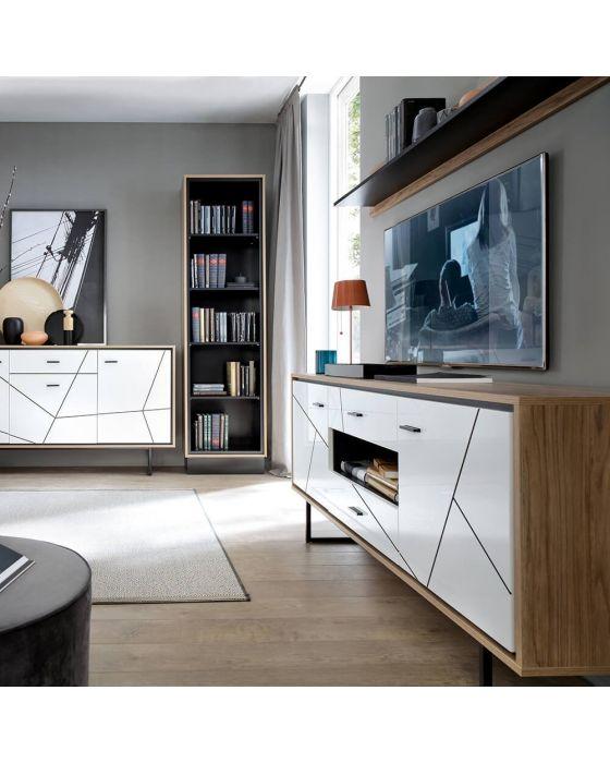 Rolo 3 Door Sideboard in White and Dark Wood