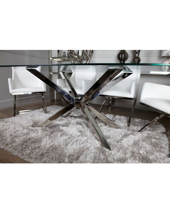 Rosa Chrome and Glass Dining Set with 4 Light Grey Chairs