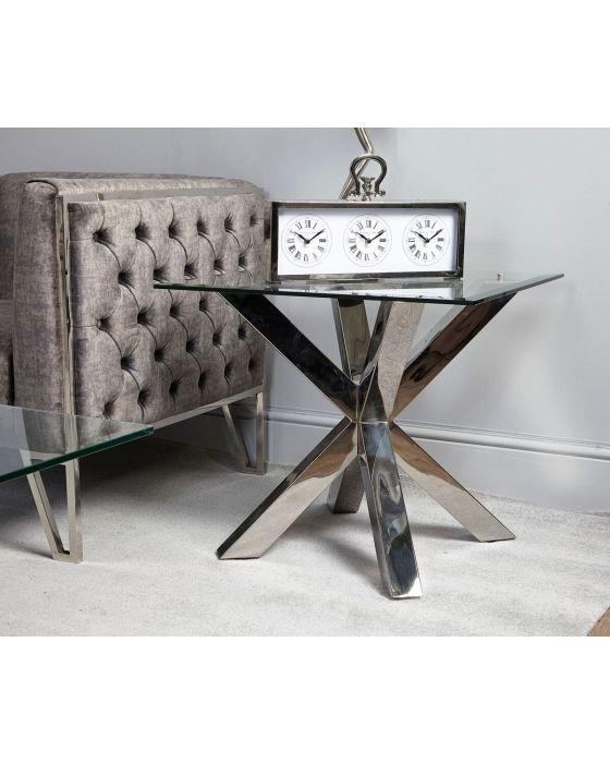 Rosa Glass & Chrome Side Table