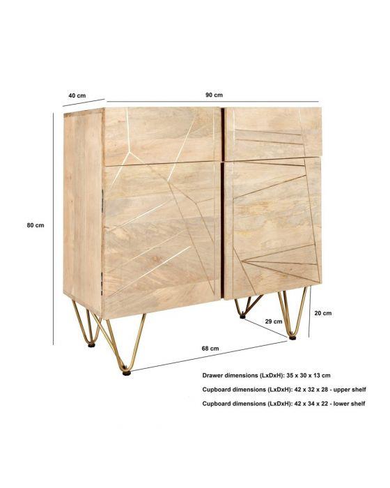 Sai Light Gold 2 Door Medium Sideboard With Gold Inlay