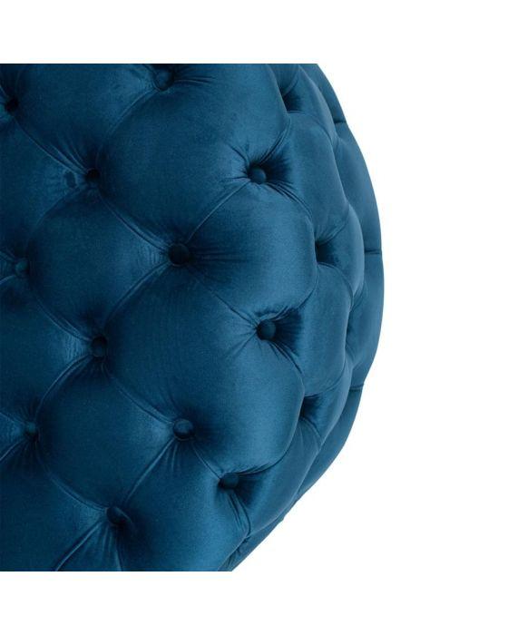 Sapphire Blue Velvet Round Buttoned Pouffe