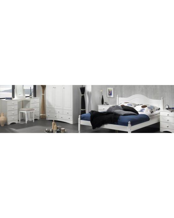 Scandi 3 Door, 5 Drawer Wardrobe with Mirror in White