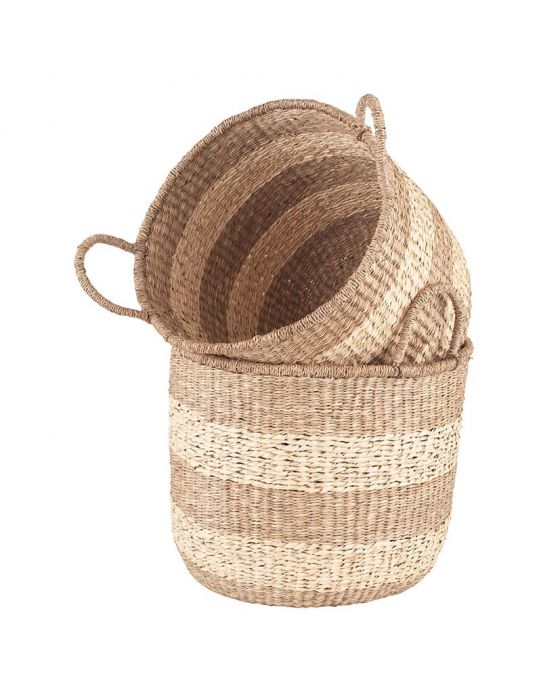 Set of 2 Woven 2-Tone Natural Seagrass Handled Baskets