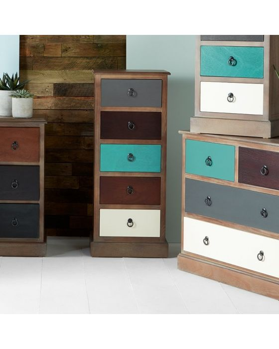 Shabby Natural Driftwood Coloured 5 Drawer Tallboy