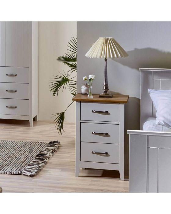 Shaker Style Grey 3 Drawer Bedside Cabinet