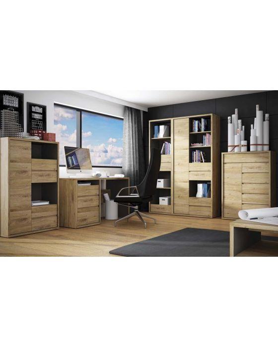 Shetland Wide 1 Door 4 Drawer Bookcase