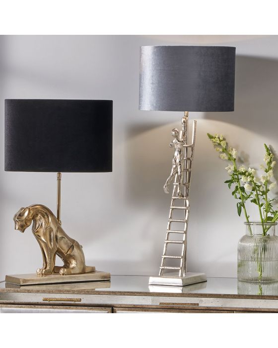 Shiny Silver Metal Ladder Man Table Lamp - Base