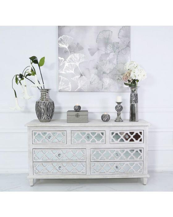Silver Black & White Zebra Vase