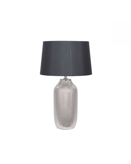 Silver Textured Ceramic Table Lamp with Black Faux Cotton Shade
