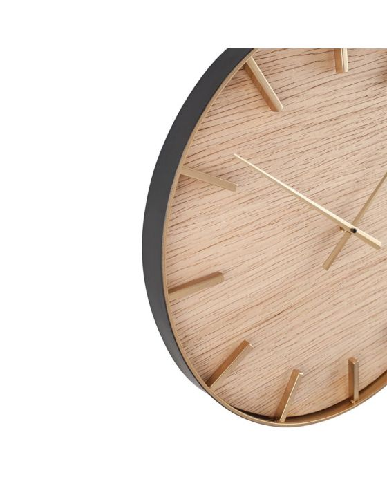 Simplistic Gold Metal and Natural Wood Round Wall Clock
