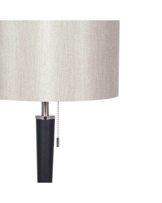 Sleek Brushed Silver and Matt Black Metal Table Lamp - Silver Shade