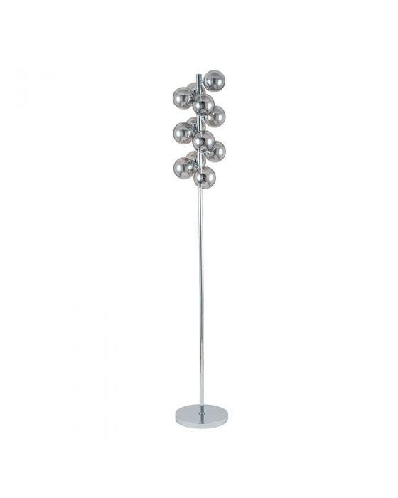 Smoke Glass Orb and Chrome Floor Lamp