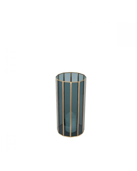 Smoked Glass and Brass Metal Medium Round Candle Holder