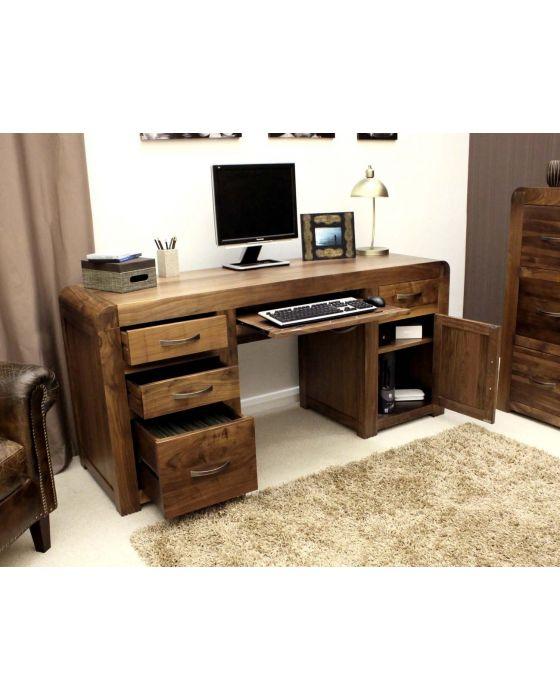 Solid Walnut Twin Pedestal Computer Desk