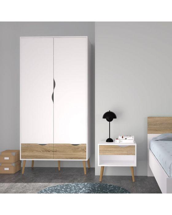 Stockholm Bedside Cabinet in White with Black or Oak