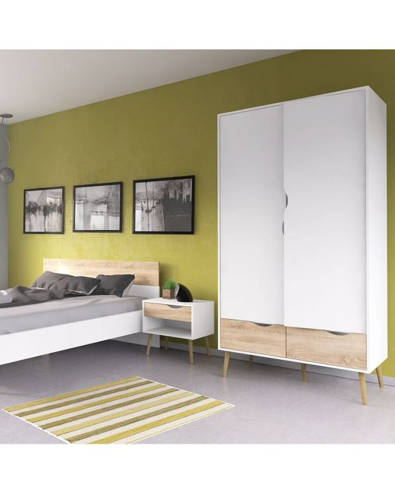Stockholm Double Wardrobe in White With Black or Oak