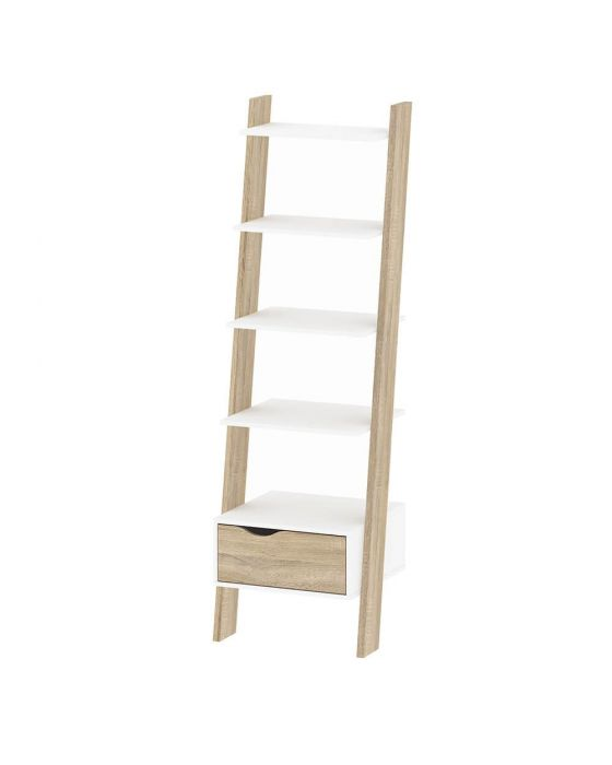 Stockholm Leaning Bookcase in White with Black or Oak
