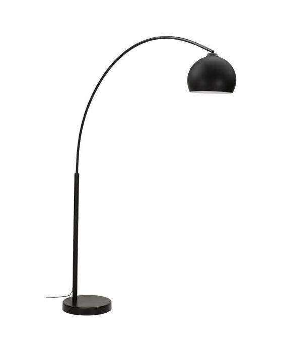Sven Black Metal Arch Round Shade Floor Lamp