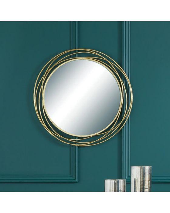 Swirls Wire Gold Wall Mirror