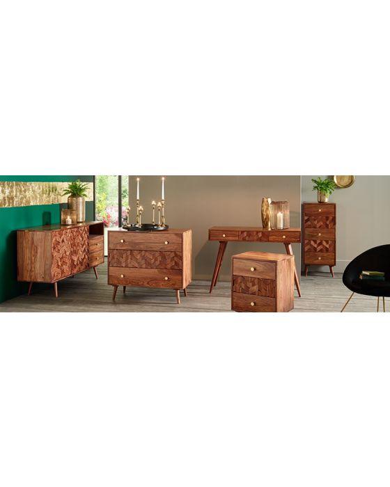3D Honeycomb Design Sheesham Wood Bedside Chest
