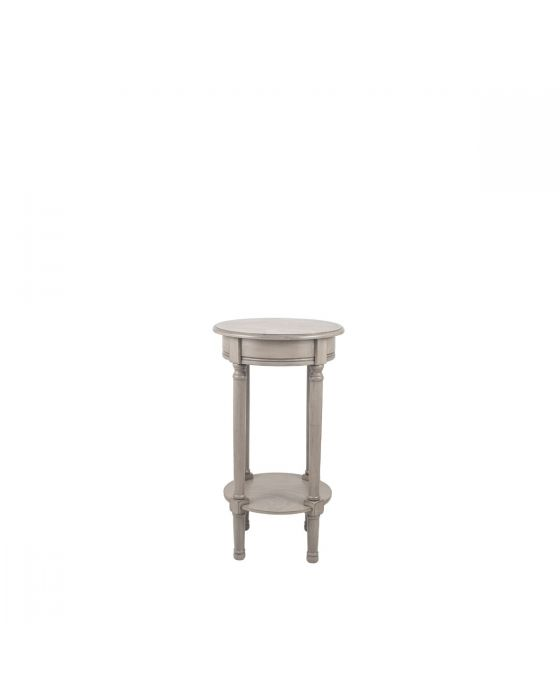 Taupe Pine Wood Round Side Table