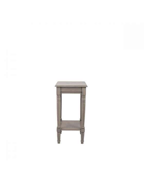 Taupe Pine Wood Square Side Table