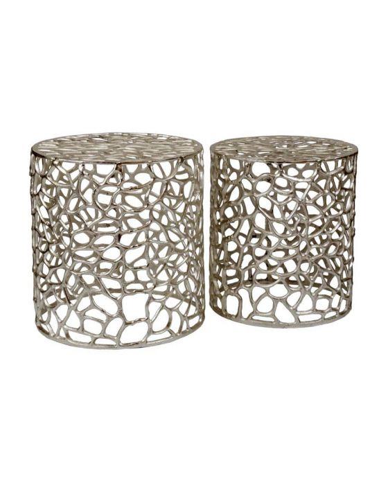 Temple Set of 2 Aluminium Side Tables/Stools