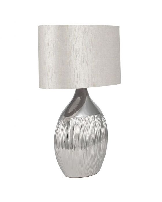 Textured Metallic Silver Etched Ceramic Table Lamp with Silver Shade