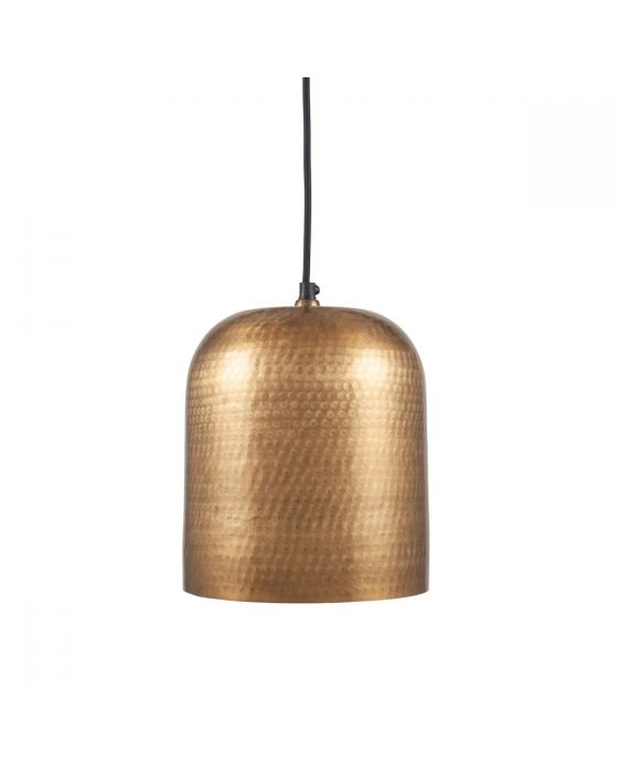 Tia Antique Brass Metal Hammered Dome Pendant