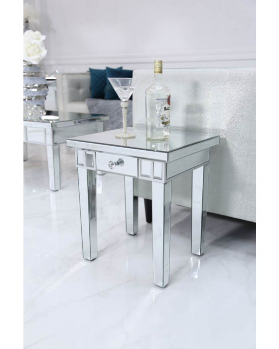 Traditional Mirrored Lamp Table with Silver finish
