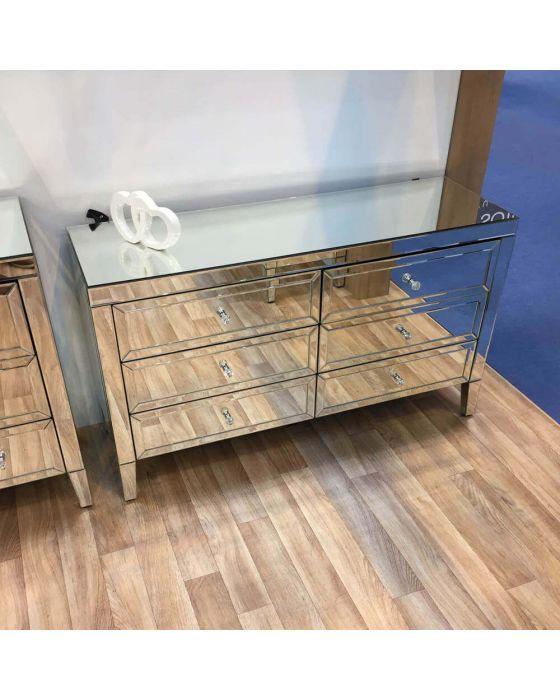 Turia Mirrored 6 Drawer Sideboard