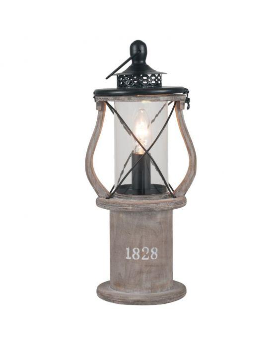 Victorian Antique Wood Lantern Table Lamp
