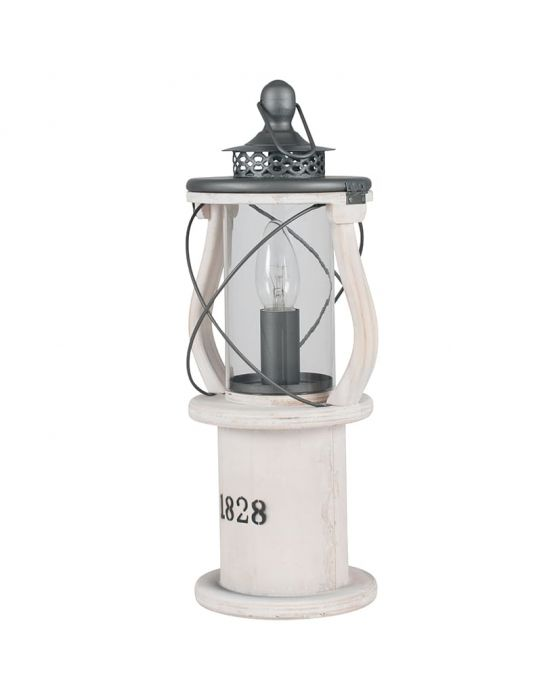 Victorian White Wood Lantern Table Lamp