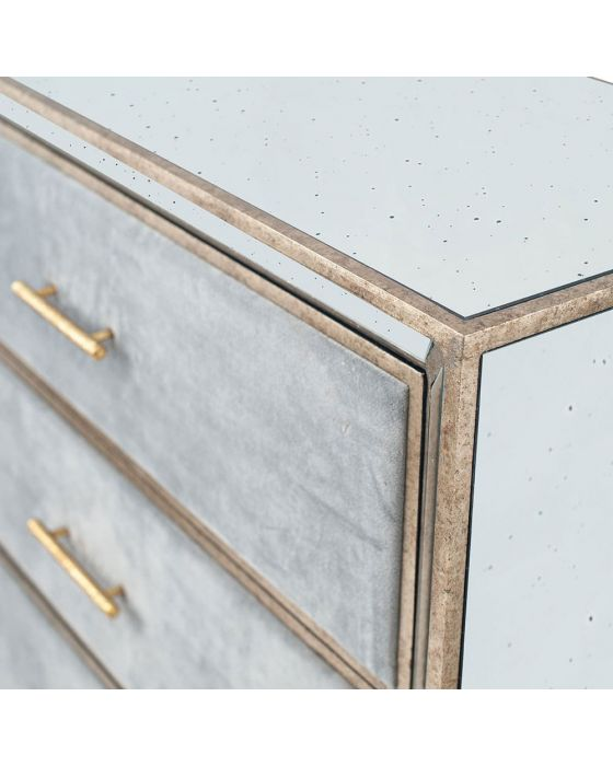 Vintage Metal With Velvet and Mirrored 3 Drawer Chest