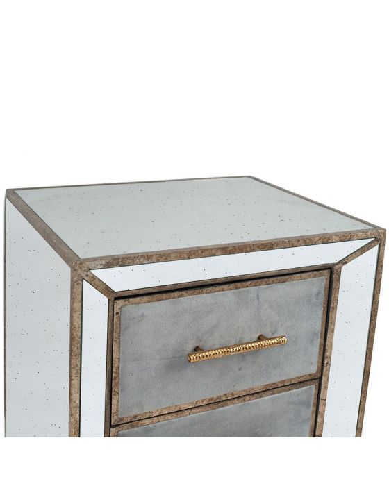 Vintage Metal With Velvet and Mirrored Bedside Unit