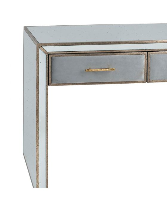 Vintage Metal With Velvet and Mirrored Console Table