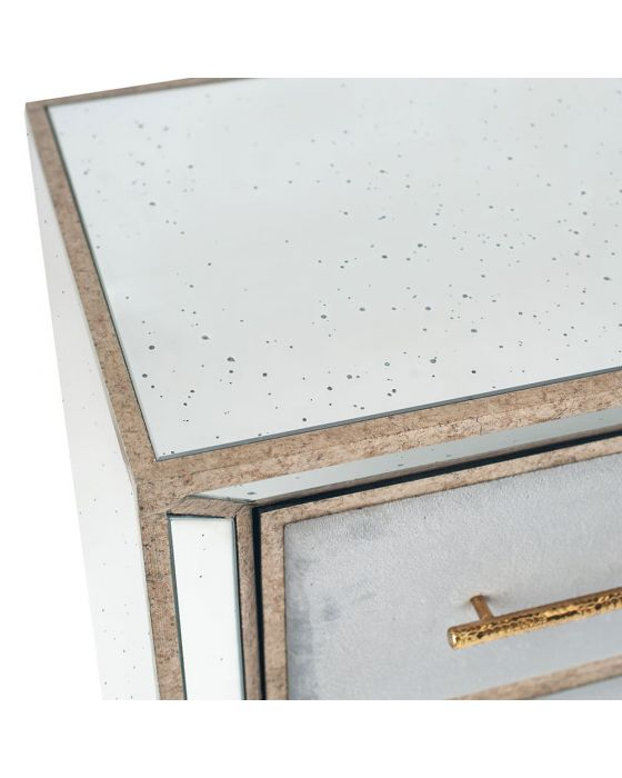 Vintage Metal With Velvet and Mirrored Tall Boy Chest