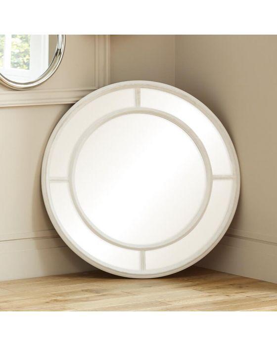 Washed White Segmented Wall Mirror