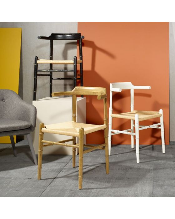 White Elm Wood and Bamboo Weathered Chair