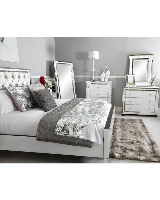 White Glass and Mirrored New York 4 Tallboy