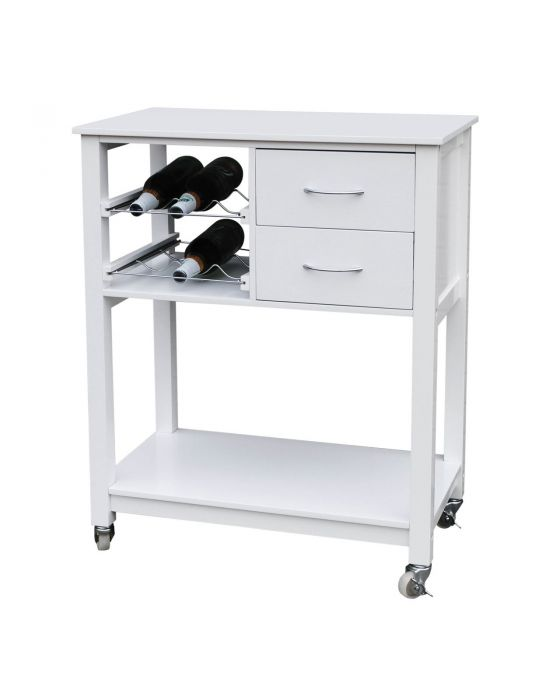 White Kitchen Trolley With Shelves On Wheels