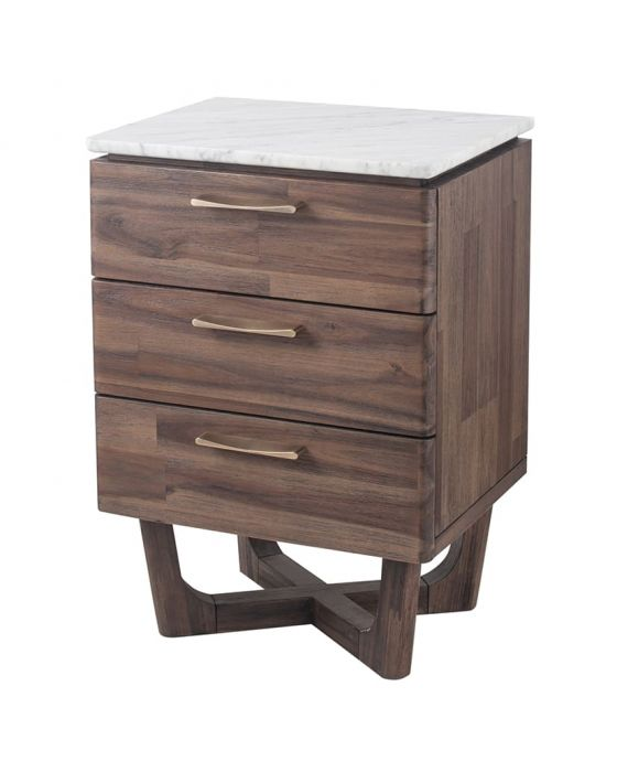 White Marble & Brown Acacia Wood Bedside Chest