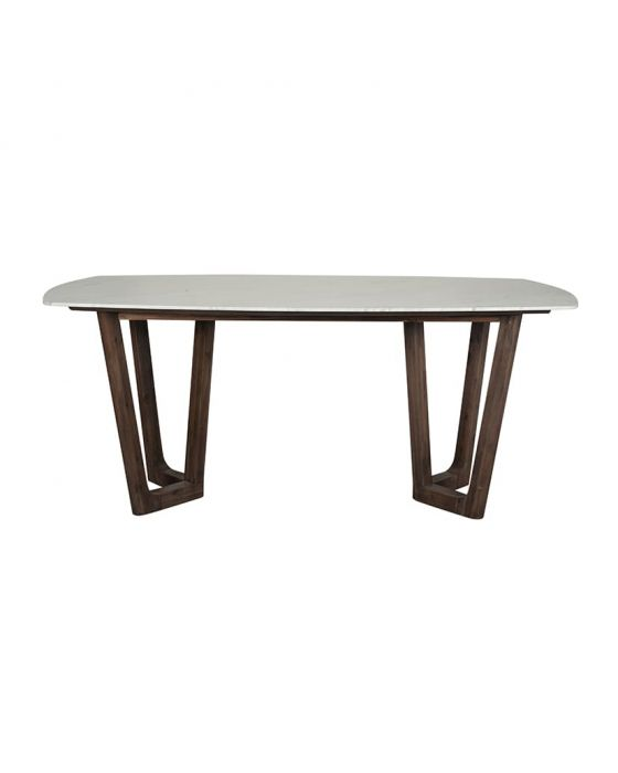 White Marble & Brown Acacia Wood Dining Table